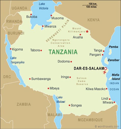 Tanzania Map, Tanzania Travel Maps from Word Travels