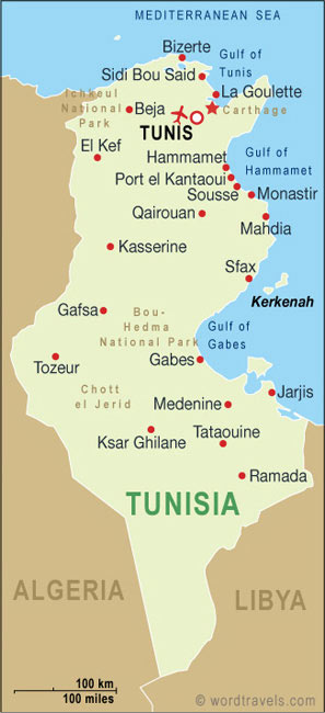 Tunisia Country Map. Free use of this map: please contact us using the link