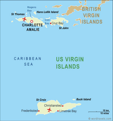 US Virgin Islands Map US Virgin Islands Travel Maps From Word Travels - Us map with virgin islands
