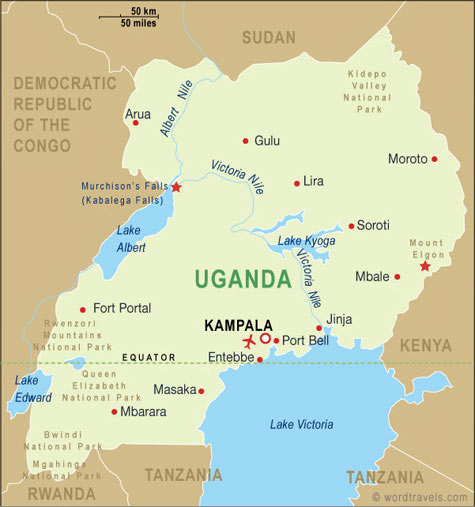 Uganda Map Uganda Travel Maps From Word Travels - Map of uganda