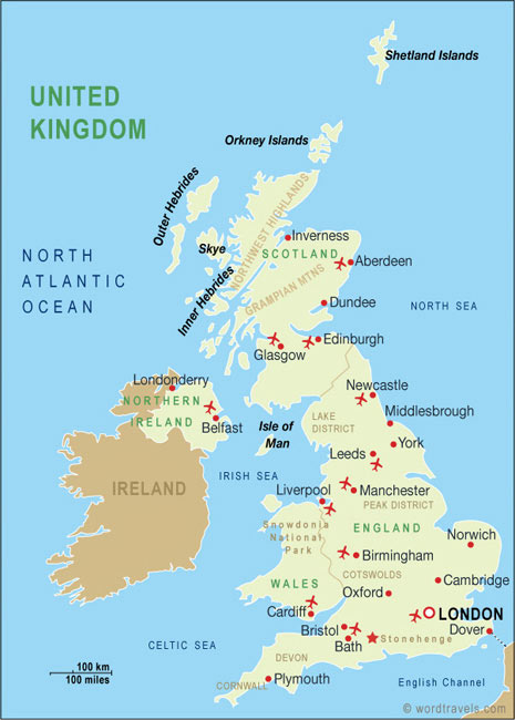United Kingdom Map United Kingdom Travel Maps from Word Travels