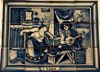 Tile depicting Fado musicians