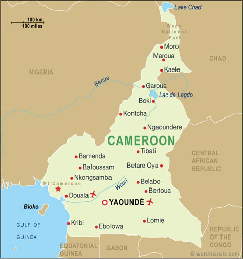 Public transport map of Cameroon